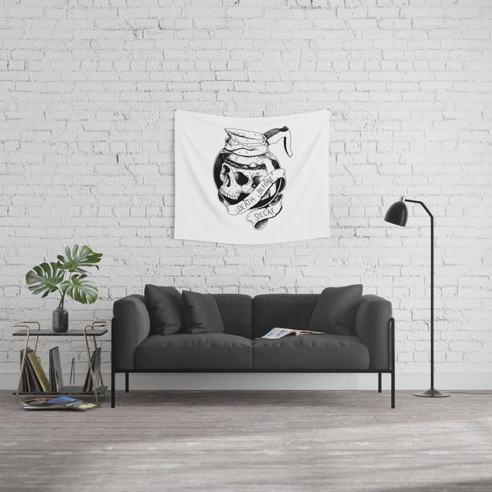 Death before decaf Wall Tapestry