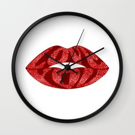 Love you with glitter letters inside lips Wall Clock