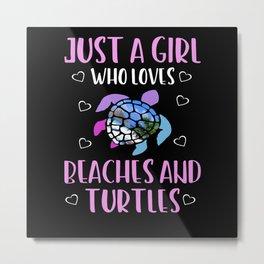 Turtle Girl Metal Print