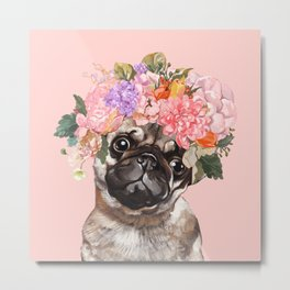 Pug with Flower Crown Metal Print