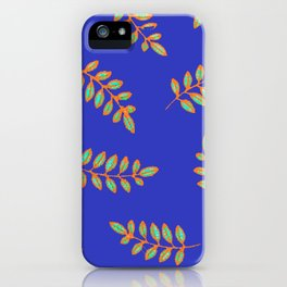 Honey Locust leaves in a primitive print on royal blue iPhone Case