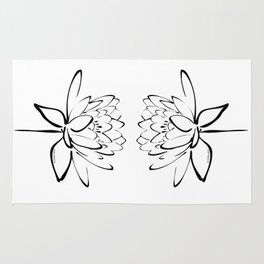Lotus Blossom Calligraphy Black Rug