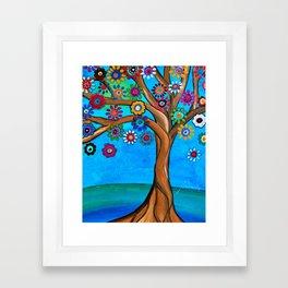 Tree of Life Whimsical Original Prisarts Painting Framed Art Print