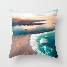 Sky view for the beach in the sunset Throw Pillow