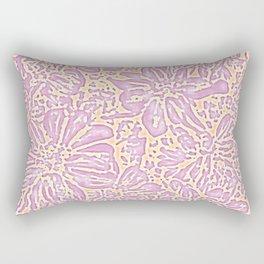 Marigold Lino Cut, Batik Pastel Pink And Orange Rectangular Pillow