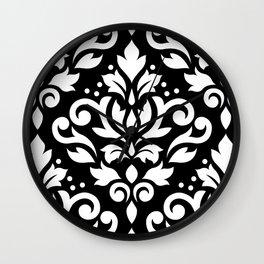 Scroll Damask Large Pattern White on Black Wall Clock