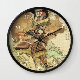 Hokusai – Hatakeyama Shigetada carrying his horse,  葛飾 北斎, Samurai,Genpei,Jidaigeki. Wall Clock
