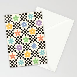 Retro Colorful Flower Double Checker Stationery Cards
