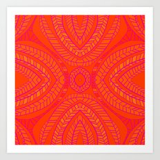 Orange Leaves Pattern Art Print