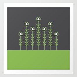 Spring Shoots (Charcoal Black, Greenery) Art Print