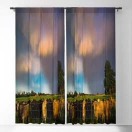 Bovine Shine - Cattle Gather on Stormy Day in Kansas Blackout Curtain
