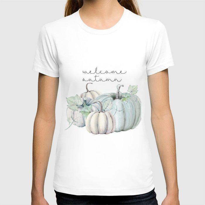 welcome autumn blue pumpkin T-shirt