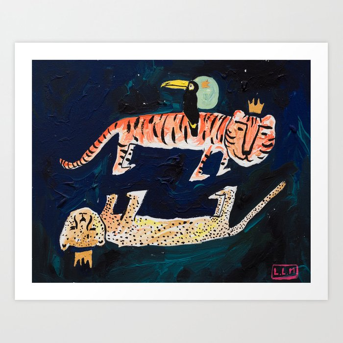 Tiger, Cheetah, Toucan Painting Kunstdrucke