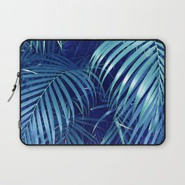 Midnight Blue Rain Forest Jungle Palm Leaves Laptop Sleeve