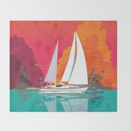 Sailing to Delos Throw Blanket