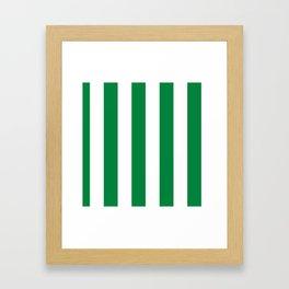 Classic Cabana Stripes in White + Kelly Green Framed Art Print