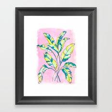 Neon Banana Leaves Framed Art Print