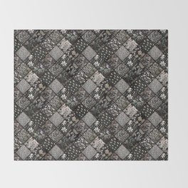 Faux Patchwork Quilting - Black Throw Blanket
