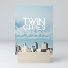 Twin Cities Skylines and Clouds-Minneapolis and Saint Paul Minnesota Mini Art Print