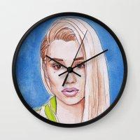 iggy azalea Wall Clocks featuring Iggy by Kaitlin Polak