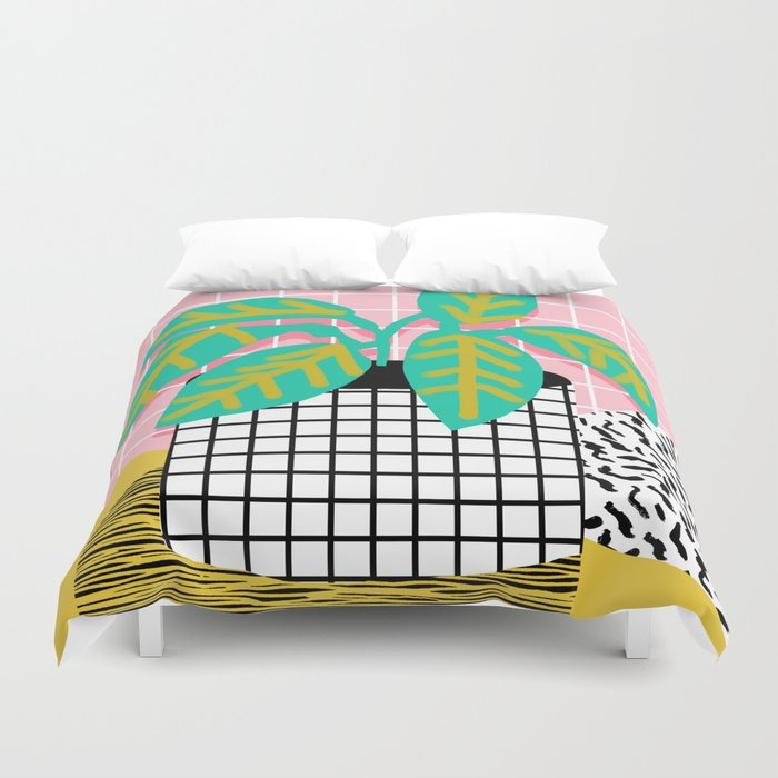 Get Real Potted Plant Throwback Retro Neon 1980s Style Art Print Minimal Abstract Grid Lines Shape Duvet Cover By Wacka Society6