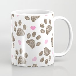 Doodle brown paw prints with pink hearts seamless vector pattern for fabric design Coffee Mug