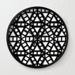 Black and White Pinwheel Illustration Wall Clock