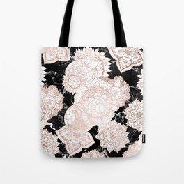 Modern rose gold floral mandala chic marble Tote Bag