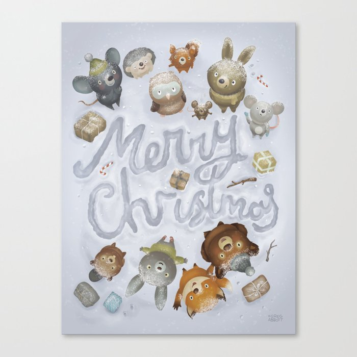 Merry Christmas Animals Canvas Print