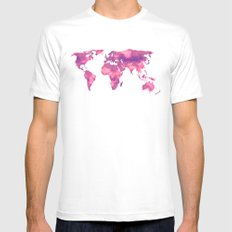 Watercolor World Map II Mens Fitted Tee MEDIUM White