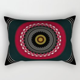 Modern Black White and Red Mandala Rectangular Pillow
