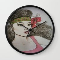 girly Wall Clocks featuring Girly,Girly by Nancy Ruvalcaba