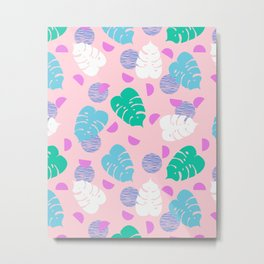Monstera leaf house plant abstract modern print neon pink pastel summer vacation palm springs Metal Print
