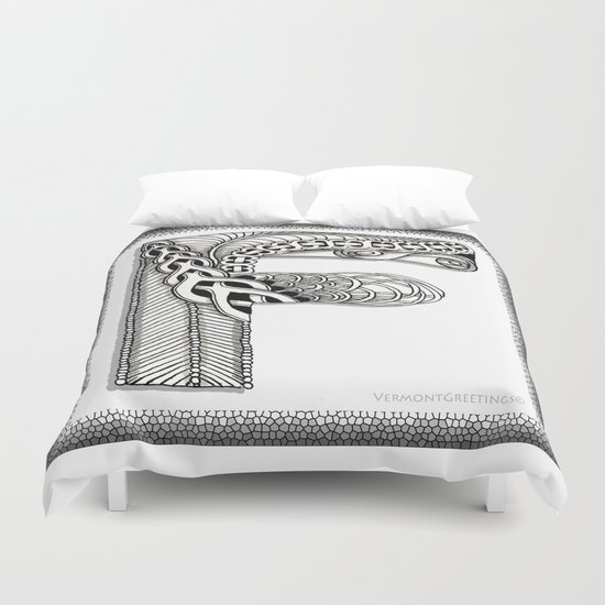 Zentangle F Monogram Alphabet Illustration Duvet Cover