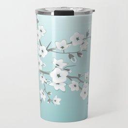 Cherry Blossoms Mint White Travel Mug