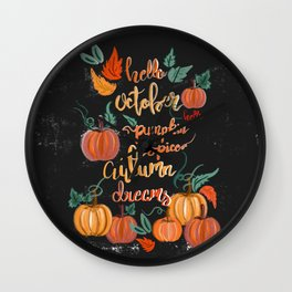 Hello October Wall Clock
