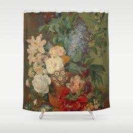Flowers in a Terra Cotta Vase, Albertus Jonas Brandt and Eelke Jelles Eelkema Shower Curtain