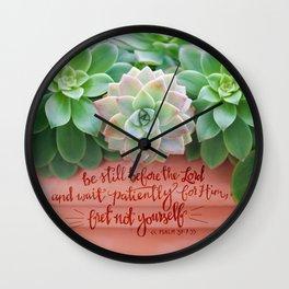 Be Still Psalm 37:7  |  succulents Wall Clock
