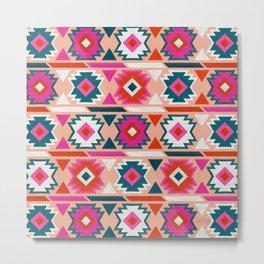 Kilim Abundance Pattern  - Blush & Teal Palette Metal Print
