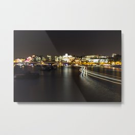 Ferry going by on the Thames Metal Print