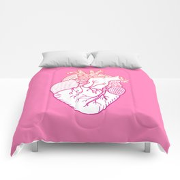 Designer Heart Pink Background Comforters