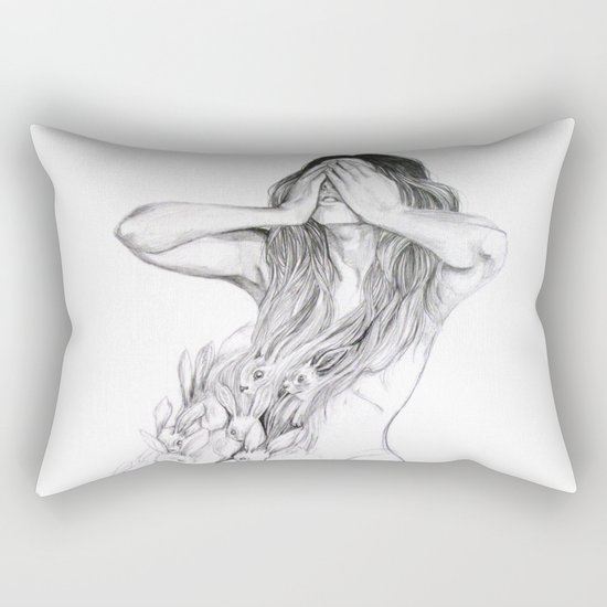 Rabbit Ghost Rectangular Pillow