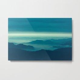 Morning sunshine over the mist forest landscape photo Metal Print