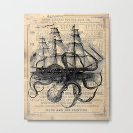 Octopus Kraken attacking Ship Antique Almanac Paper Metal Print