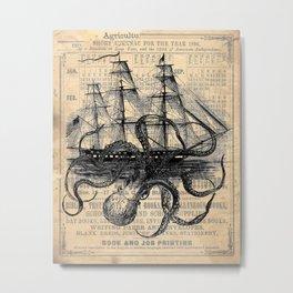Octopus Kraken attacking Ship Antique Almanac Paper Metal Print