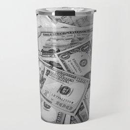 Black&white money patten Travel Mug
