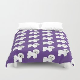 Bichon Frise dog on Ultraviolet, 2018 Bichon , Year of the dog, Pantone Ultraviolet Duvet Cover