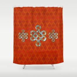 Decorative Marble and Gold Endless Knot symbol Shower Curtain
