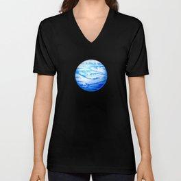 Illustration of watercolor round planet Unisex V-Neck