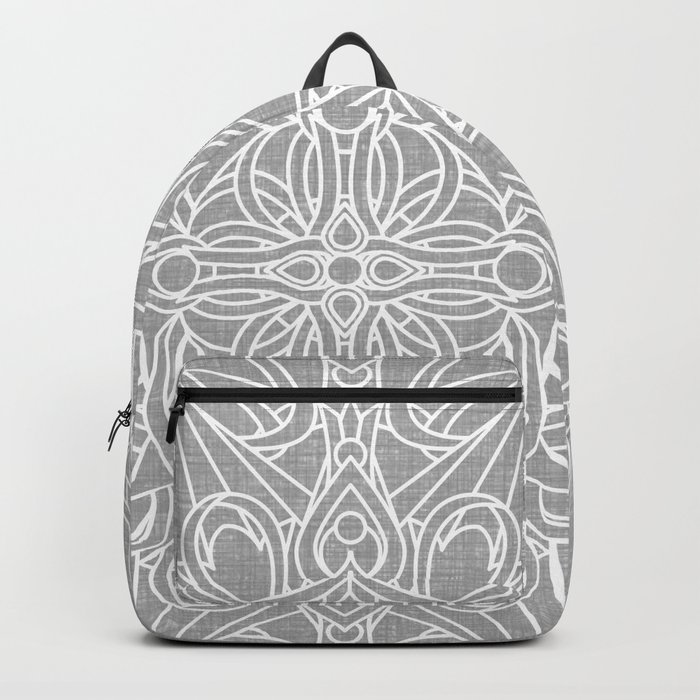 White Mandala on Grey Linen Backpack